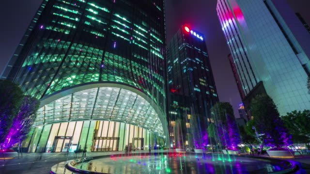 china night light shenzhen main famous skyscraper 4k time lapse video