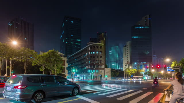 china shanghai city night traffic road street crossroad panorama 4k time lapse video