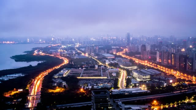 China Shenzhen City Scenery time-lapse photography China Shenzhen City Scenery time-lapse photography sunset to night time lapse stock videos & royalty-free footage