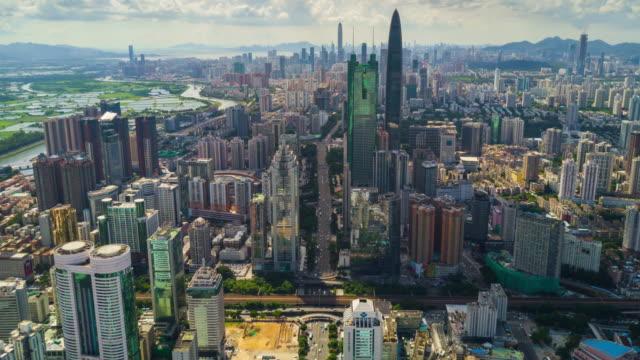 中国シンセン都市の景観晴れた日空中パノラマ 4 k タイムラプス - 広東省点の映像素材/bロール