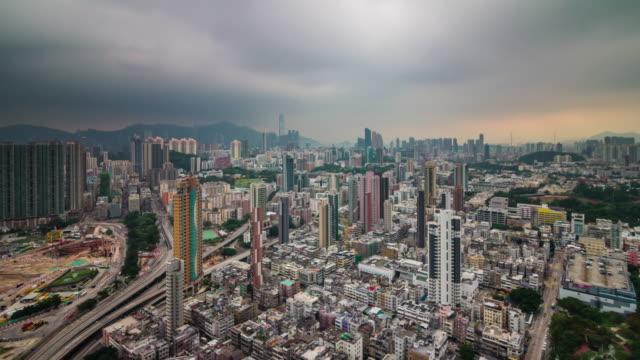 china storm sky hong kong city roof top panorama 4k time lapse video