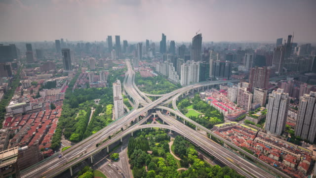 china summer day shanghai cityscape traffic road junction roof top panorama 4k time lapse video