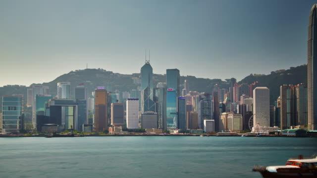 china sunny day light hong kong bay panorama ferris wheel 4k time lapse video