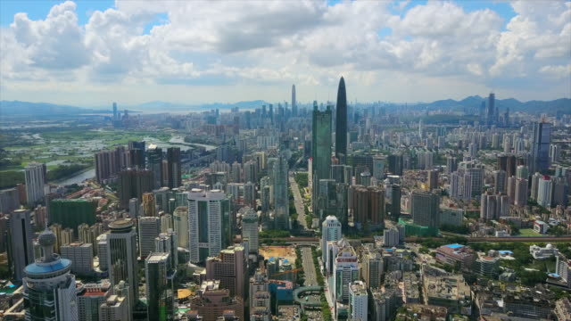 china sunny day shenzhen cityscape downtown traffic road aerial panorama 4k - шэньчжэнь стоковые видео и кадры b-roll