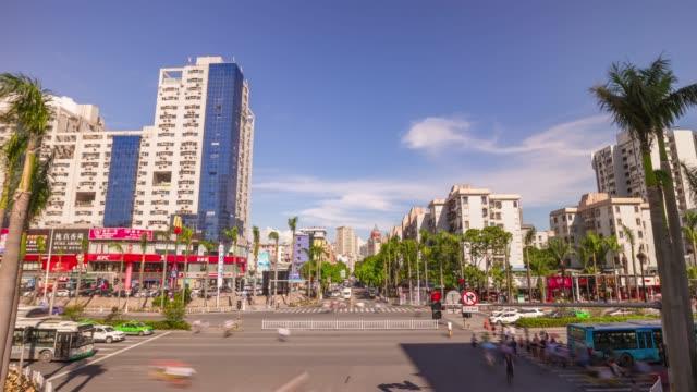 china sunny day zhuhai city center traffic street crossroad panorama 4k timelapse - zhuhai video stock e b–roll