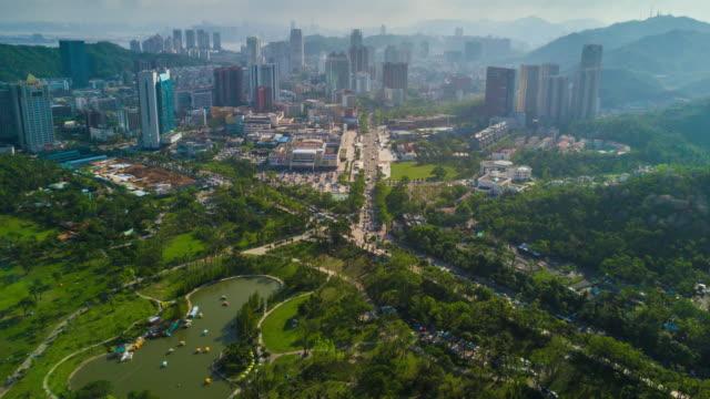 china sunny day zhuhai city famous beach bay cityscape aerial panorama 4k time lapse - zhuhai video stock e b–roll