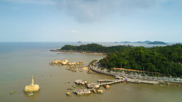 china sunny day zhuhai city famous fisher girl monument bay aerial panorama 4k time lapse - zhuhai video stock e b–roll