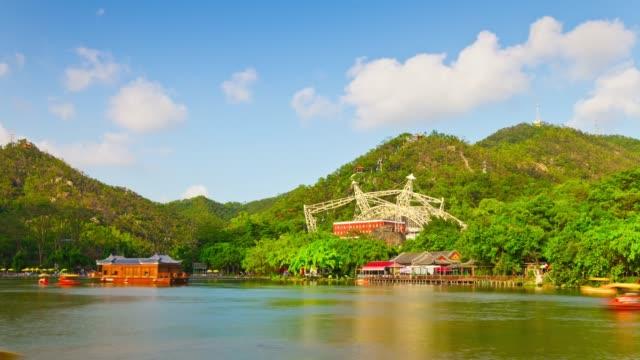 china sunny day zhuhai city famous park lake mountain panorama 4k timelapse - zhuhai video stock e b–roll