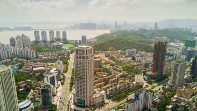 china sunny day zhuhai cityscape downtown aerial panorama 4k time lapse - zhuhai video stock e b–roll
