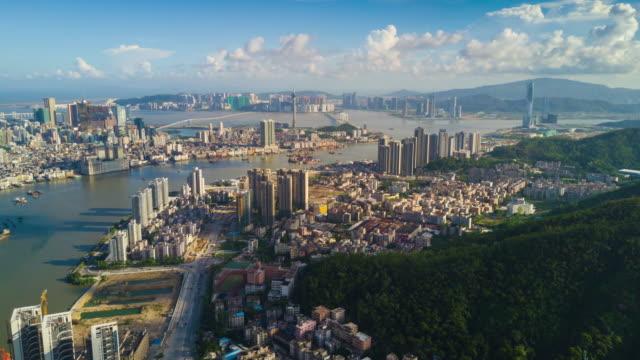 china sunny sunset zhuhai city bay macau view aerial panorama 4k time lapse - zhuhai video stock e b–roll