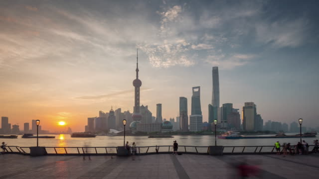 china sunset shanghai city famous river bay downtown view panorama 4k time lapse video