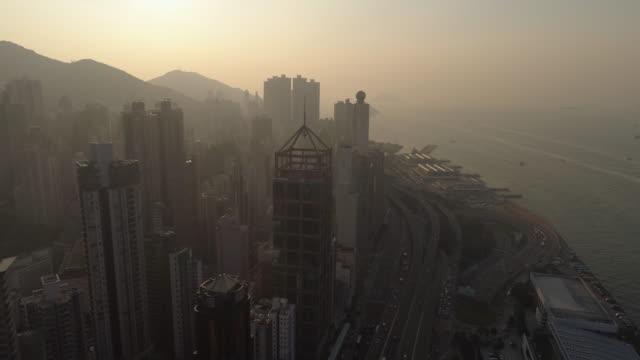china sunset sky light hong kong city bay aerial panorama 4k video