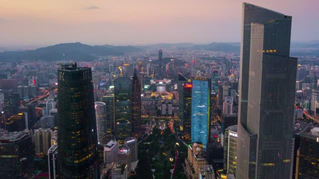 中国日没時間広州新市街ダウンタウン正方形空中パノラマ 4 k タイムラプス - 中国 広州市点の映像素材/bロール