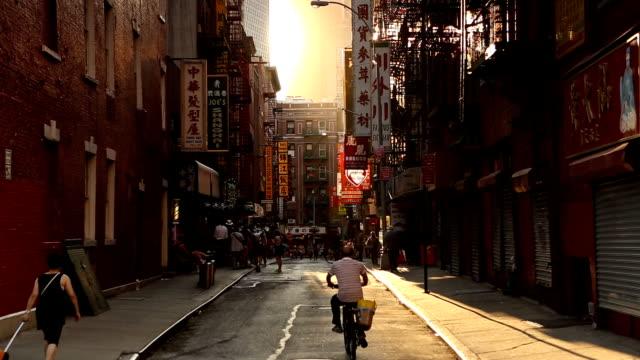 Chinatown Pell Street Sunset Scene in New York City video