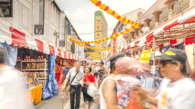vidéos et rushes de tl: chinatown, singapour - nouvel an chinois