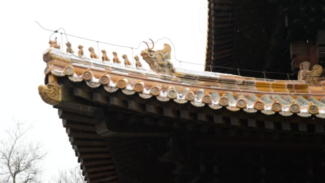 Chinese ancient architecture eaves in the snow