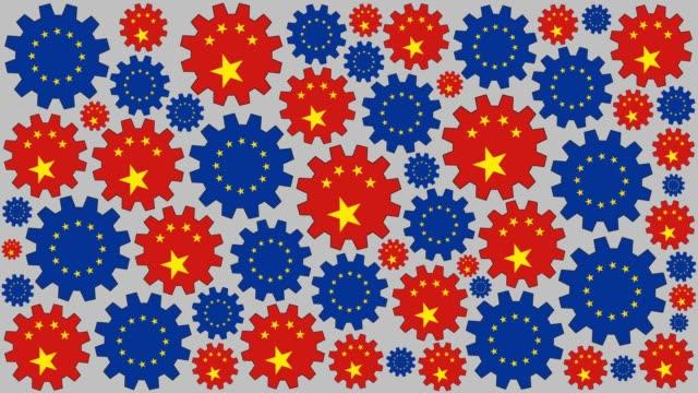 Engranajes de chinos y europeos bandera spinning fondo - vídeo