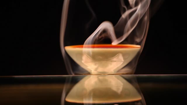 chinese black tea cup smoke dark background nobody hd footage - teapot stock videos & royalty-free footage