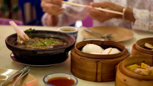Chinese breakfast on table video