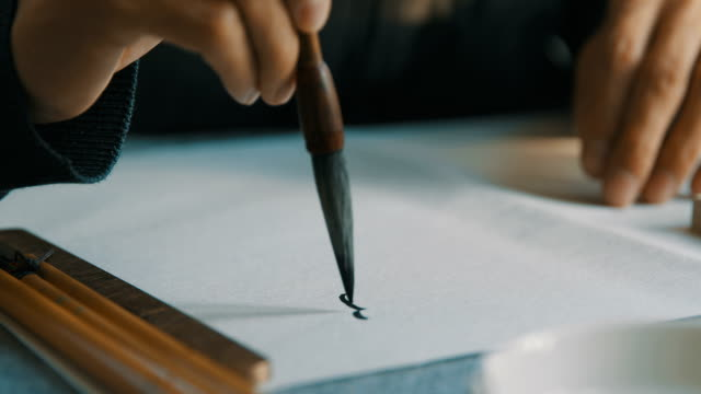 Chinese brushes draw on white papers video