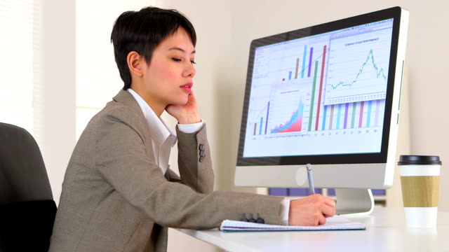 Chinese businesswoman analyzing data video
