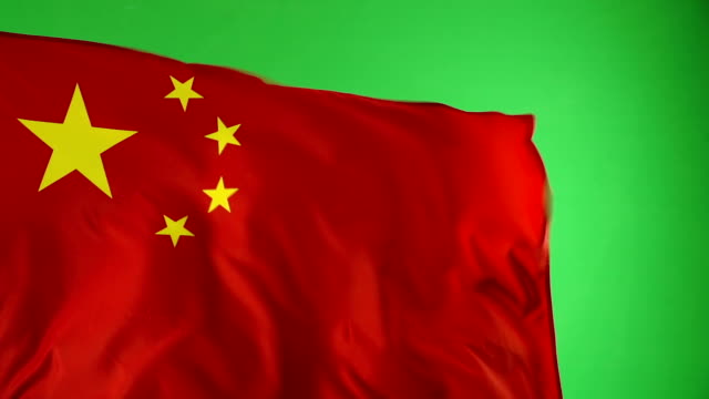 Chinese China Flag on green screen, Super Slow Motion - vídeo