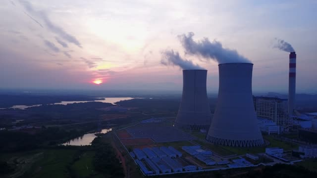 chinese city, thermal power station. - centrale termoelettrica video stock e b–roll