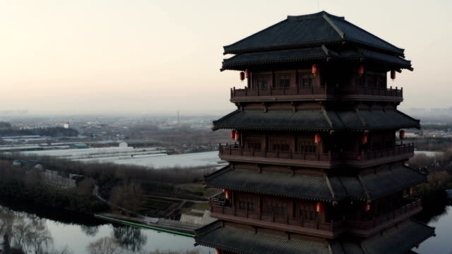 Chinese classical Pagoda - Big wind Pavilion,Xi'an,China. Chinese classical Pagoda - Big wind Pavilion,Xi'an,China. dormir stock videos & royalty-free footage