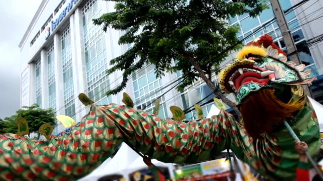 Chinese dragon dancing parade video