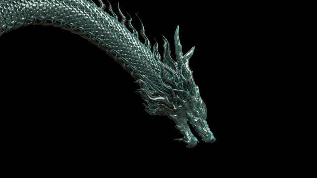 chiński smok cyfrowy drut-ramka zielony kolor wygięty ruch ciała z renderowania 3d obejmują ścieżkę alfa. - smok postać fikcyjna filmów i materiałów b-roll