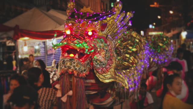 SLO MO Chinese dragon in chinese new year festival