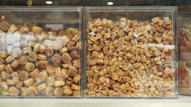 Chinese Dried scallop shop in Hong Kong. Medicine food for health video