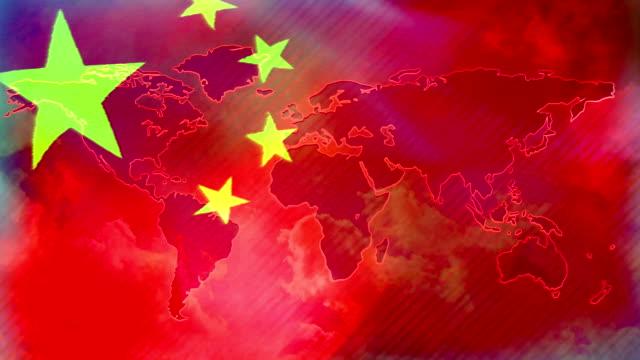 Bandera de China. Fondo de bandera que agita de animación - vídeo