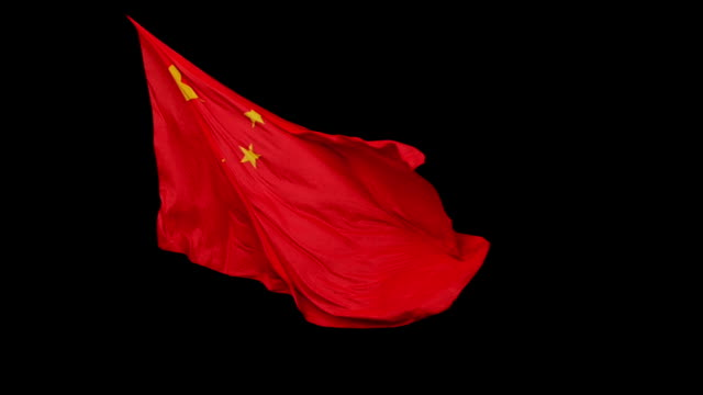 Bandera china aislado en negro - vídeo