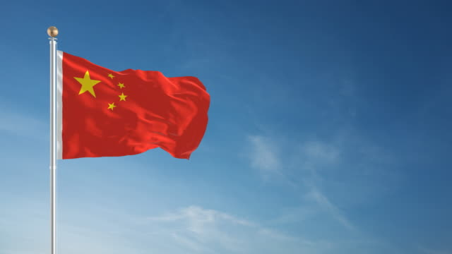 4 K de bandera de China en bucle - vídeo