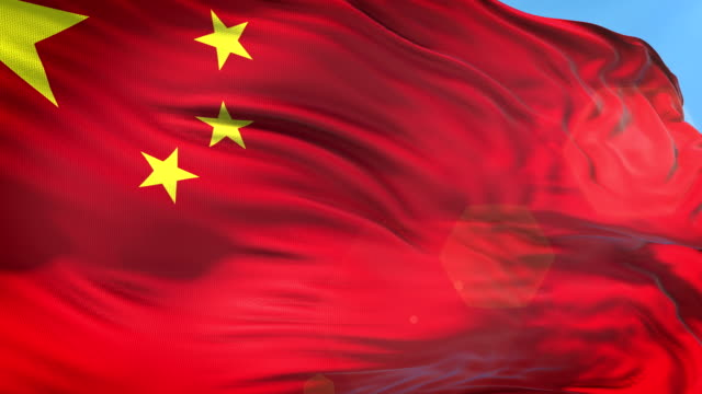 chinese flag - slow motion - 4k resolution - bandiera nazionale video stock e b–roll
