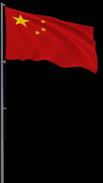 Chinese flag, waving on transparent background, prores footage with alpha channel, vertical video