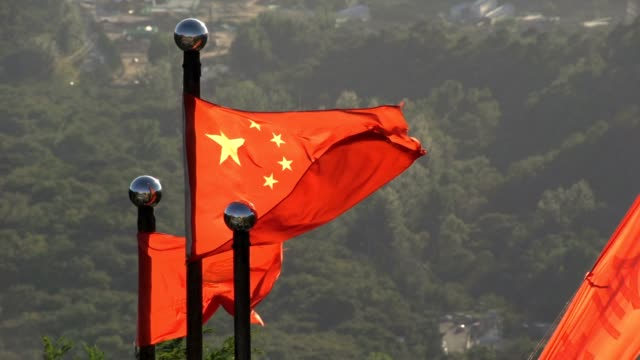 China Mutianyu flags Great Wall - vídeo