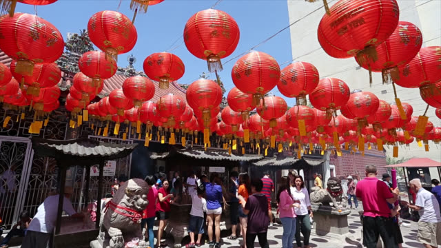 Chinese lantern hang outside temple for decorate on New year video