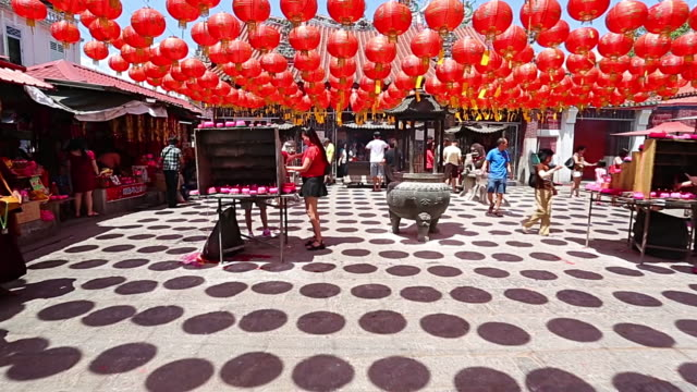Chinese lantern hang outside temple video