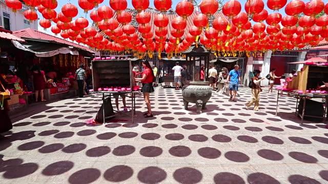 Linterna estar fuera de templo chino - vídeo