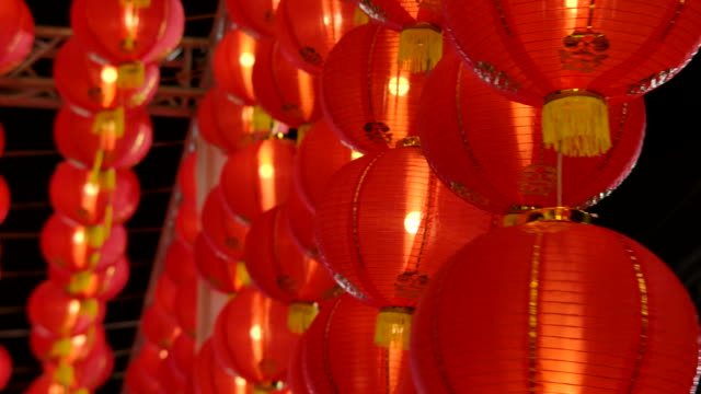 Chinese lantern Red color Chinese lantern Red color on chinese new year at night. china east asia stock videos & royalty-free footage