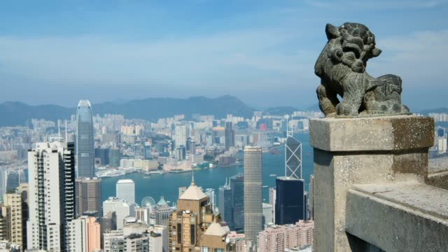 Chinese Lion statue at Victoria peak the famous viewpoint in Hong Kong