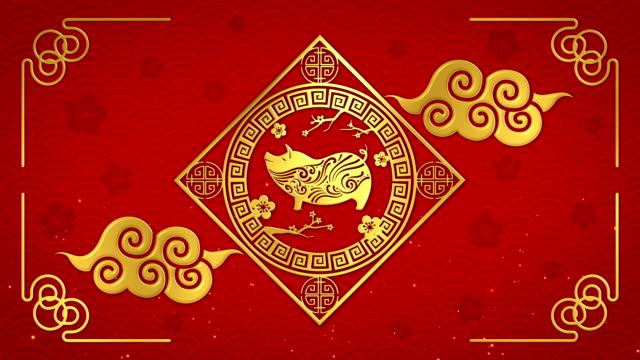 Chinese new year 2019 with golden pig zodiac on red background looped