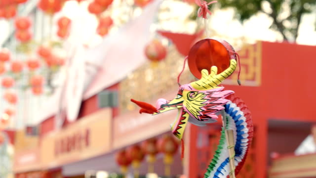 Chinese new year : Chinese dragon dancing parade