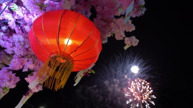 中國新年燈籠與煙花。 - chinese new year 個影片檔及 b 捲影像