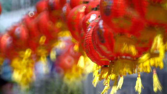Chinese New Year Lanterns in Chinatown. Translate Blessing Text Mean Prosperity, Wealthy. Chinese New Year Lanterns in Chinatown. Translate Blessing Text Mean Prosperity, Wealthy. chinese new year stock videos & royalty-free footage