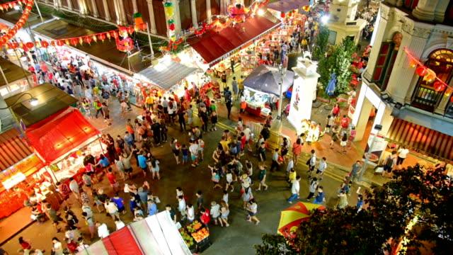 chiński nowy rok w singapurze china town i podróżny cieszyć traviling - turysta filmów i materiałów b-roll