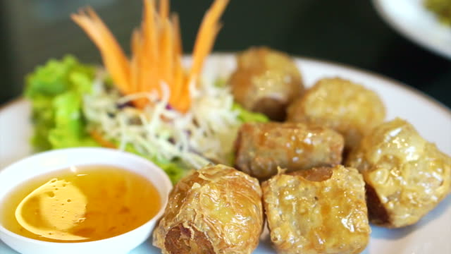 Chinese restaurant food Crab Roll Cake with plum sauce video