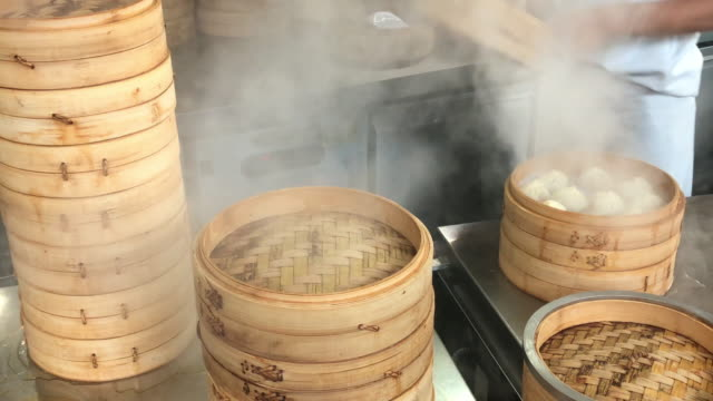 chinese restaurant kitchen.steaming dimsum in process - chinese food stock videos and b-roll footage